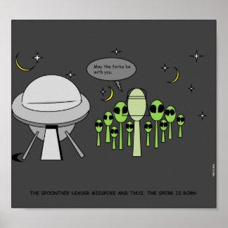 ALIENÍGENA ENGRAÇADA & POSTER DO UFO