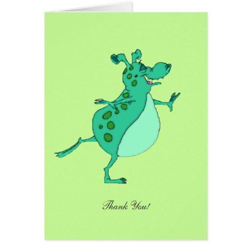 Alienígena verde de salto - obrigado cartao
