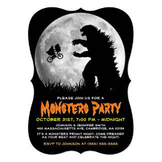 ALIENS engraçados contra o mascarada dos MONSTRO Convite 12.7 X 17.78cm
