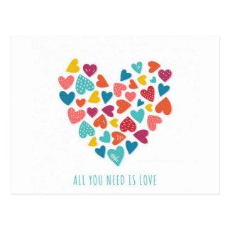 all you need is love Você só precisa de amor Cartão Postal