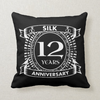 Almofada 12a seda do aniversário de casamento