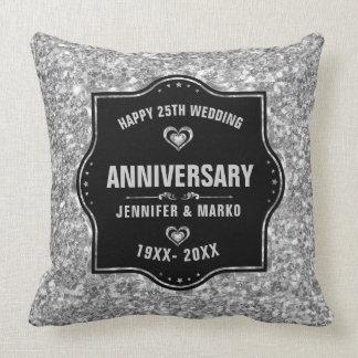 Almofada 25o Preto do aniversário de casamento e brilho da