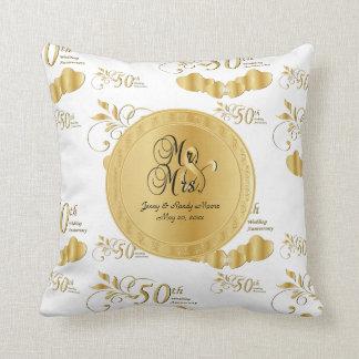 Almofada 50th Aniversário de casamento dourado