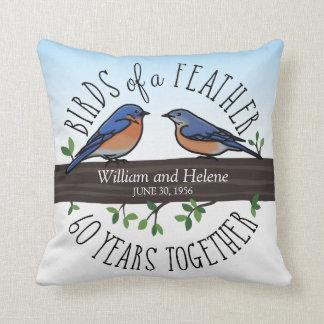 Almofada 60th Aniversário de casamento, Bluebirds de uma