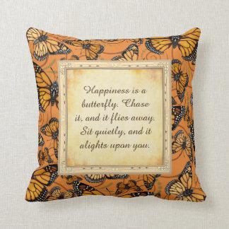 Almofada A felicidade é uma borboleta: Borboleta de monarca