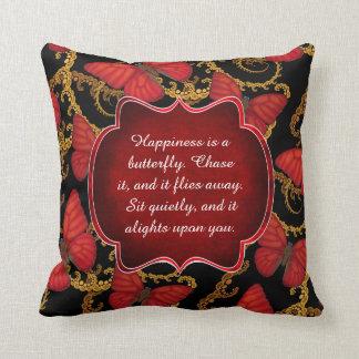 Almofada A felicidade é uma borboleta: Planador do vermelho