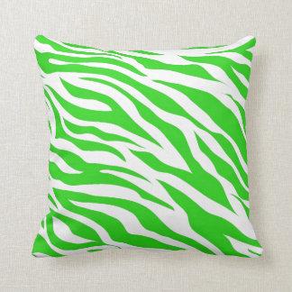 Almofada A zebra branca do verde limão listra impressões do