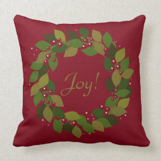 Almofada Alegria! grinalda vermelha rústica do Natal de |