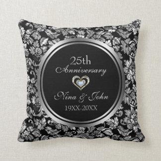 Almofada Aniversário de casamento da prata preta e metálica