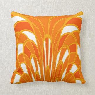 Almofada Arte abstracta Deco do cogumelo - tangerina