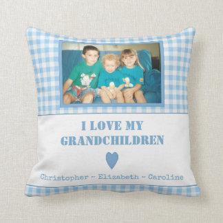 Almofada Avós azuis personalizadas da foto do guingão