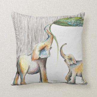 Almofada Baby and Mom Elephant Watercolor