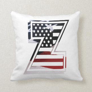 Almofada Bandeira patriótica dos EUA da inicial do