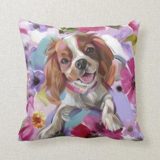 Almofada Branco descuidado do travesseiro da arte do cão do
