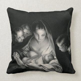Almofada Branco do preto dos anjos da Virgem Maria de Jesus
