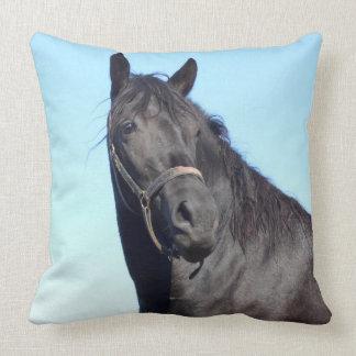 Almofada Cavalo preto e o céu azul