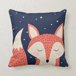 Almofada Céu nocturno e estrelas da raposa vermelha da arte