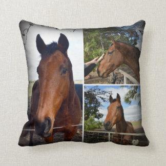 Almofada Colagem da foto da beleza do cavalo de Brown,