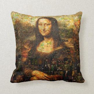 Almofada colagem de Mona lisa - mosaico de Mona lisa - Mona