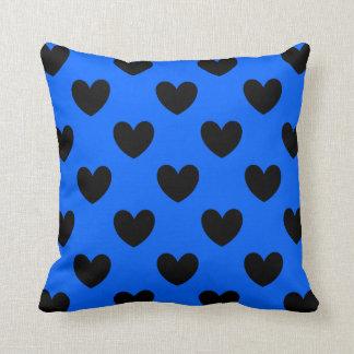 Almofada Corações pretos da polca no azul