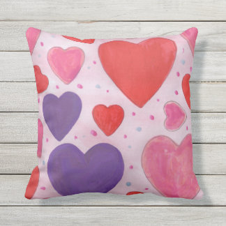 Almofada Corações roxos e vermelhos cor-de-rosa do dia dos