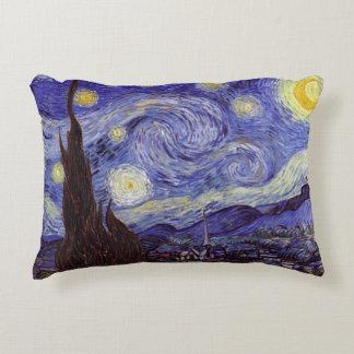 Almofada Decorativa Belas artes do vintage da noite estrelado de