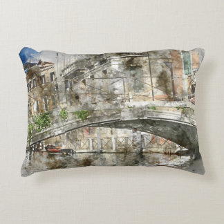 Almofada Decorativa Canais da aguarela de Veneza Italia