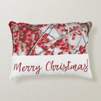 Almofada Decorativa Travesseiro do acento do Natal das bagas do