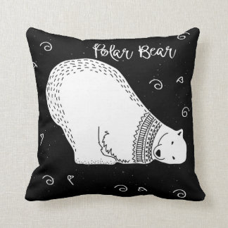 Almofada Design bonito do urso polar em preto e branco