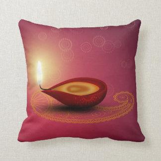 Almofada Diwali feliz brilhante Diya - travesseiro