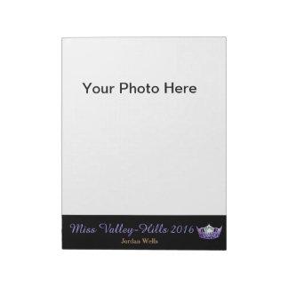 Almofada do autógrafo da foto da representação caderno de notas