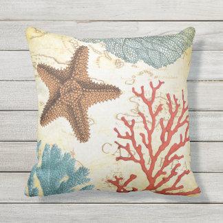 Almofada Estrela do mar e coral das caraíbas coloridos