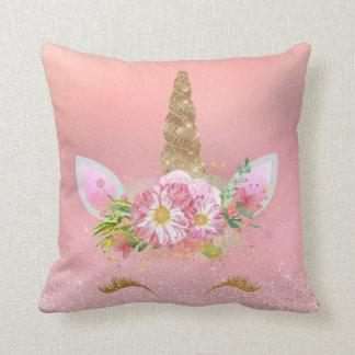 Almofada Flores de sorriso do encanto do ouro do rosa do