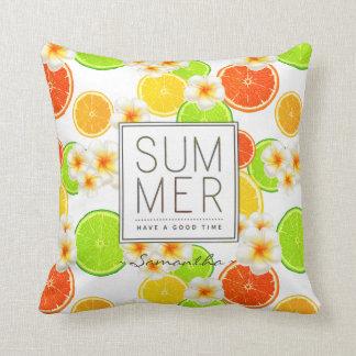 Almofada Frutas frescas do verão e flores exóticas do
