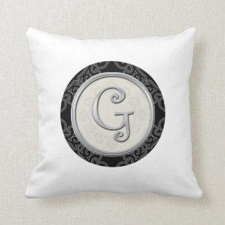Almofada Inicial de prata à moda G do monograma