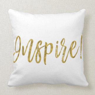 Almofada Inspire o travesseiro da folha de ouro do falso