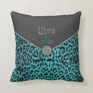Almofada Leopardo da cerceta e travesseiro preto do Libra