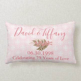Almofada Lombar Aniversário de casamento um rosa de 75 anos