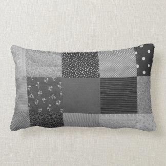 Almofada Lombar branco do preto do design do tecido dos retalhos