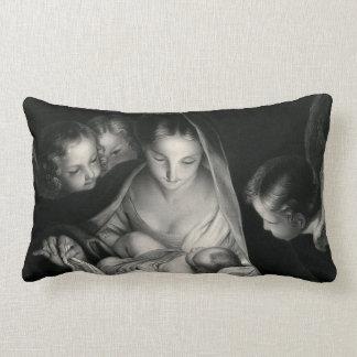 Almofada Lombar Branco do preto dos anjos da Virgem Maria de Jesus