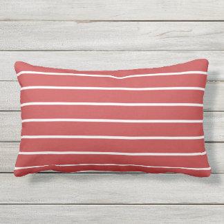 Almofada Lombar Design náutico clássico da listra branca vermelha