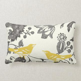 Almofada Lombar Pássaro floral do vintage cinzento amarelo na moda
