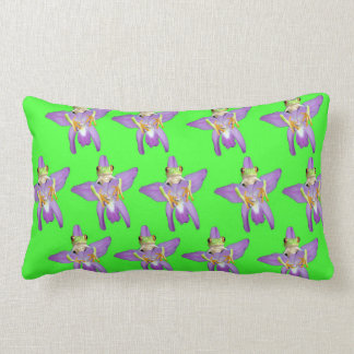 Almofada Lombar Sapo verde que esconde atrás de uma orquídea,