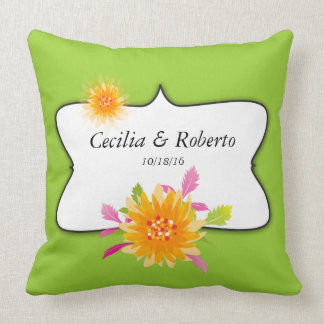 Almofada Monograma personalizado floral dos casais no verde