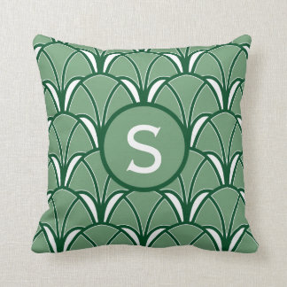 Almofada Monograma verde do art deco
