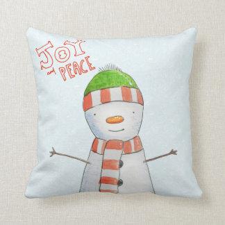 Almofada Natal bonito do boneco de neve da alegria e da paz