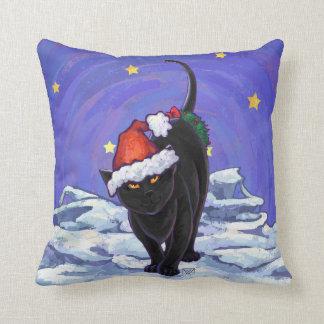 Almofada Natal do gato preto de noite estrelado