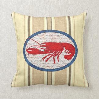 Almofada Náutico azul branco vermelho do vintage rústico da