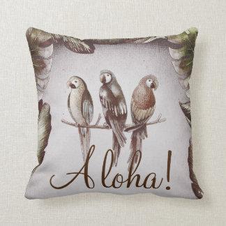 Almofada Os pássaros tropicais de Tiki do vintage repetem