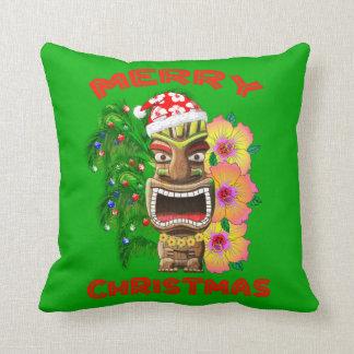 Almofada Papai noel engraçado Tiki do Feliz Natal